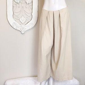Brooks Brothers | Khaki Silk Pleat Wide Leg Pant 8